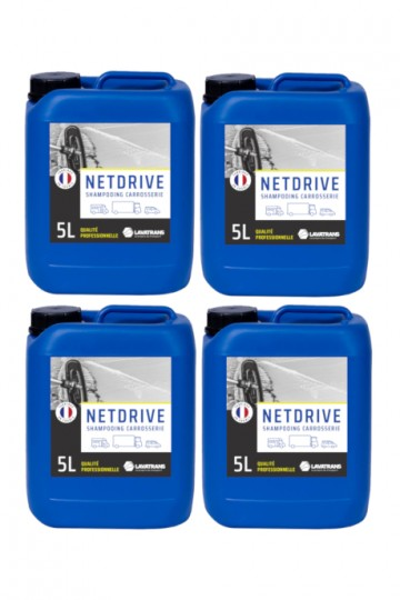 4 x NETDRIVE | Shampoing carrosserie tous véhicules | bidon 5L